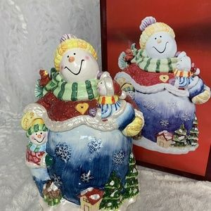 New In Box Ceramic Snowman Cookie Jar Had Painted